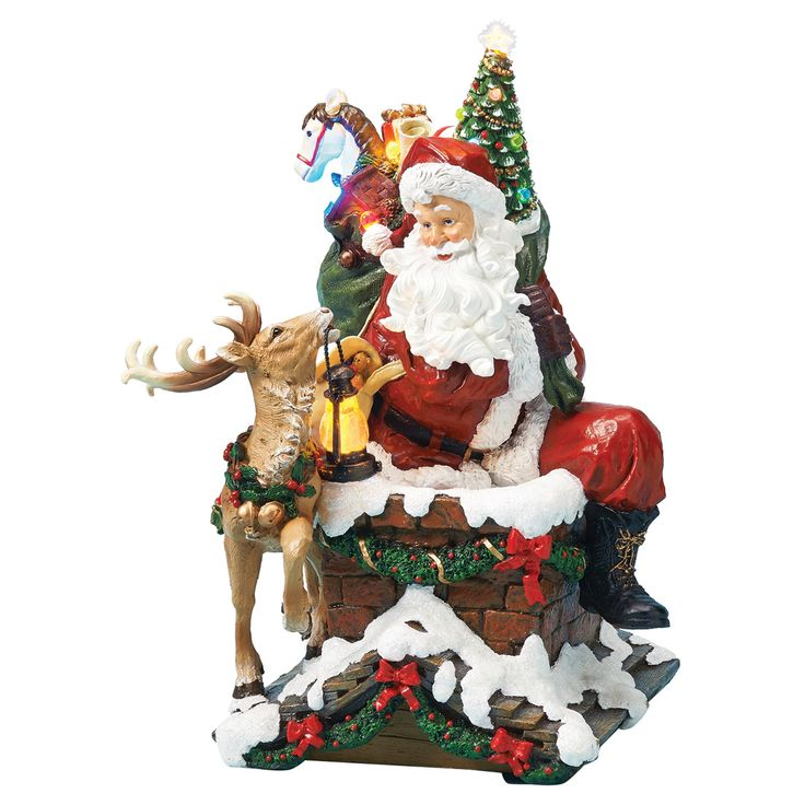 Lit Led Santa on Chimney Decorative Figurine,