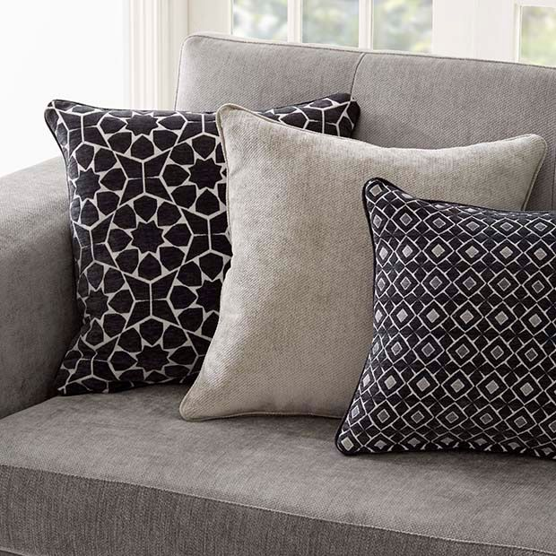 Warwick Fabrics, MARISOL collection. Paired back with our popular plain, Dolce. #warwickfabrics #textiles #cushions