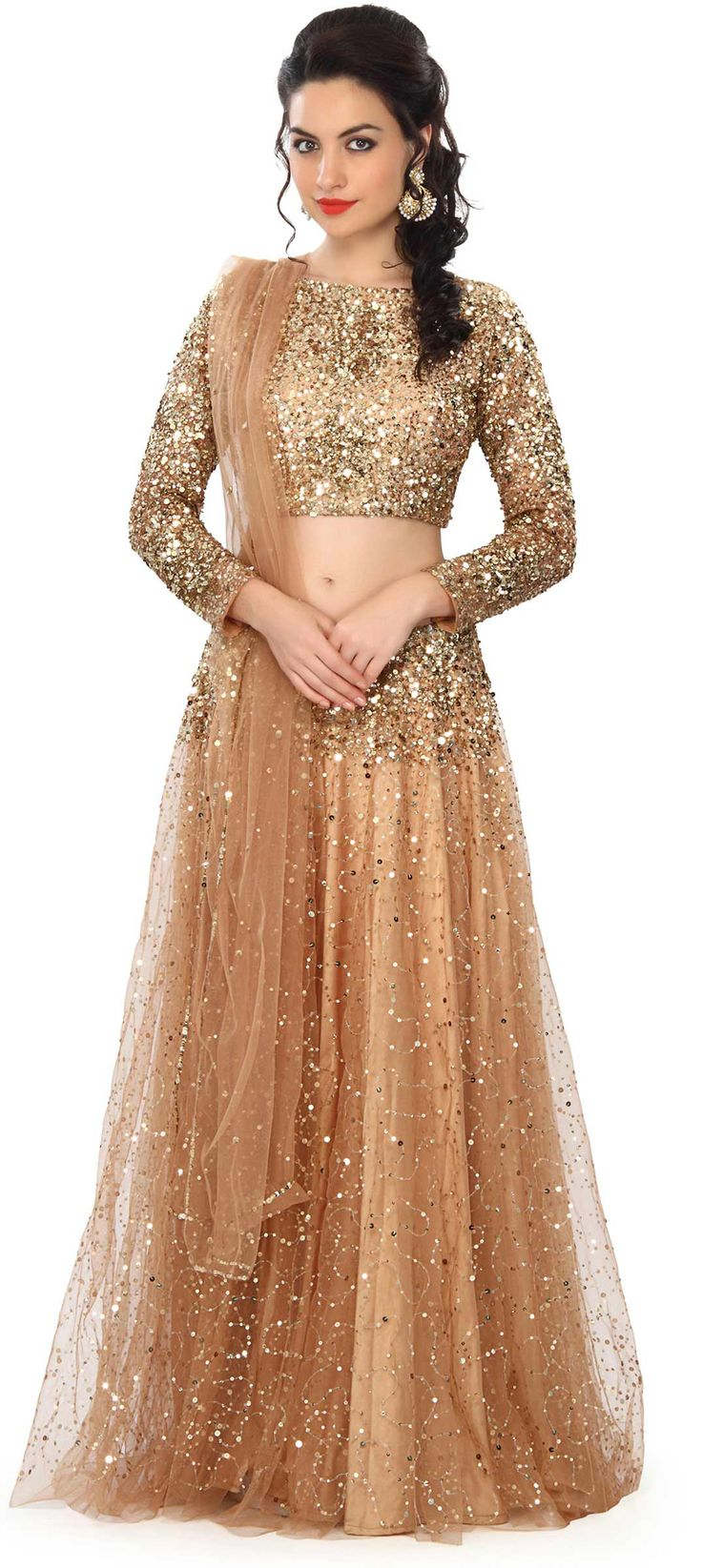 Gold lehenga and blouse featuring in net with satin lining. Its embellished in sequin embroidery all over.   We ship worldwide (Free Shipping over US$100) Price - $379.00 Click Anywhere to Tag  http://www.kalkifashion.com/gold-lehenga-embellished-in-sequin-embroidery-only-on-kalki.html