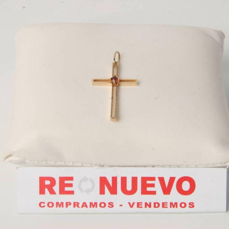 Cruz de oro de segunda mano con un rubí E274444D | Tienda online de segunda mano en Barcelona Re-Nuevo