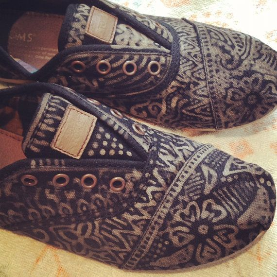 Hand decorated Toms by Miscalainey on Etsy $93.90 These are so cute!