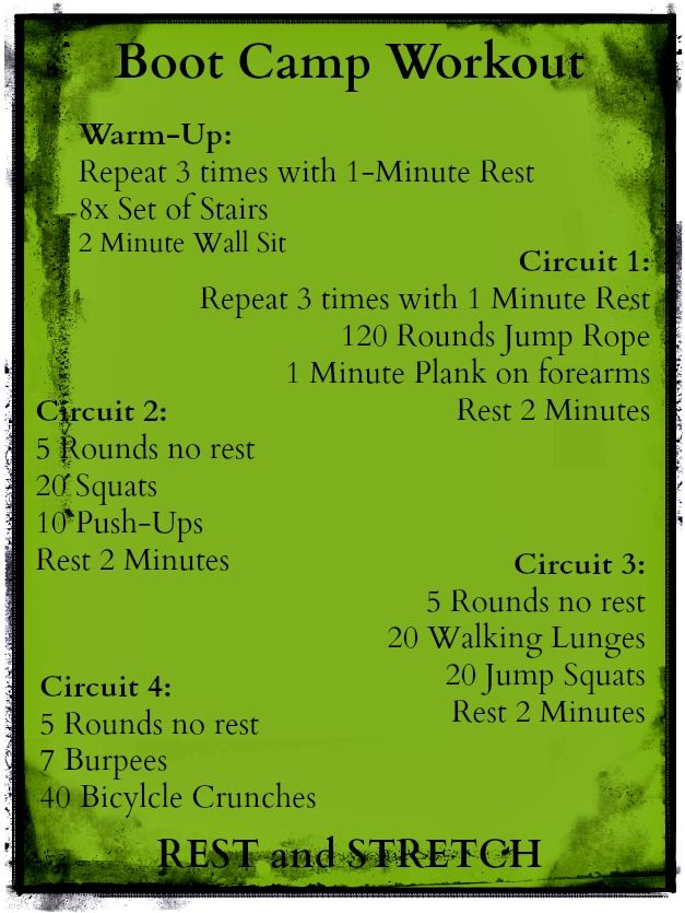 Boot Camp Workout.  This kicked my ass tonight.  So my new goal in life is to be able to do the whole thing without throwing up.