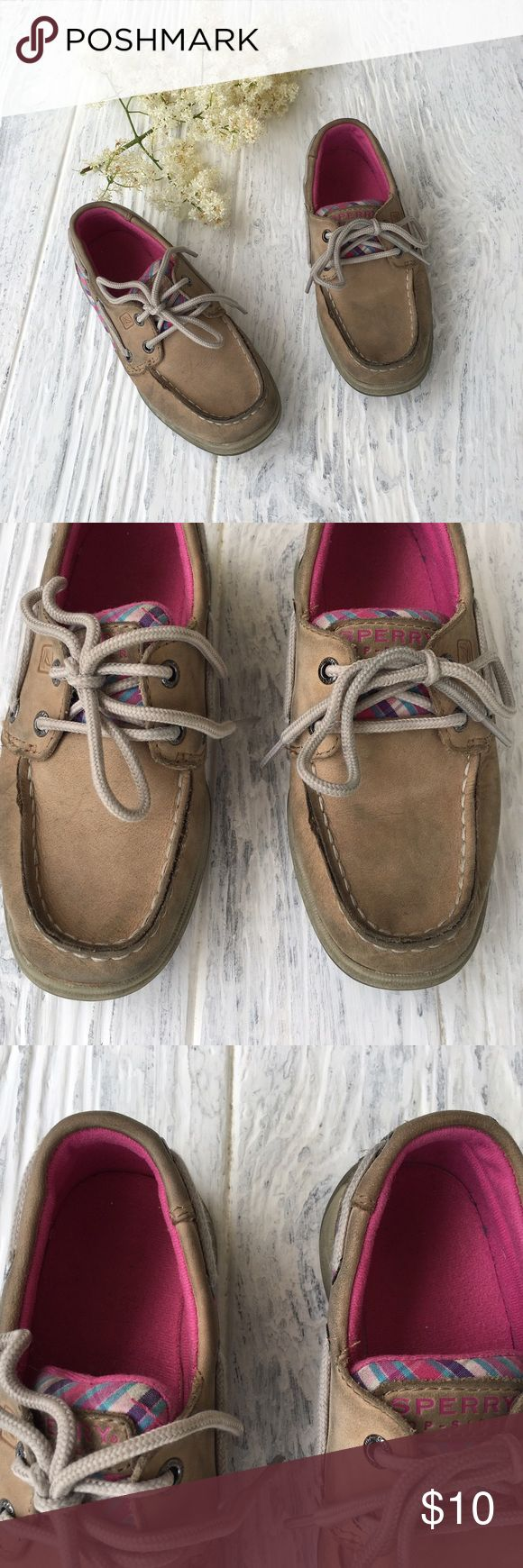 Girls Sperry Girls Sperry size 12.5.  These shoes are well loved, but still have some life left in them! Very cute tan color to match with anything. From a smoke and pet free home! Bundle and save! Sperry Shoes