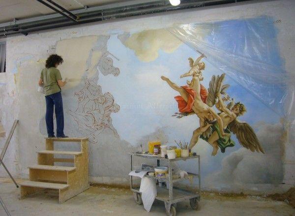 Esecuzione ad affresco di una scena classica di grandi dimensioni, da trasferire poi sul soffitto della casa del cliente