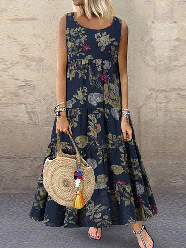 Vintage Floral Print Sleeveless Crew Neck Maxi Dress