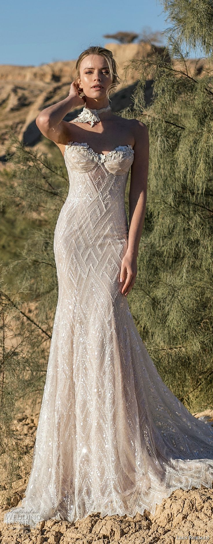lian rokman 2017 bridal strapless sweetheart neckline bustier full embellishment elegant sexy trumpet wedding dress sweep train (emerald) mv -- Lian Rokman 2017 Wedding Dresses