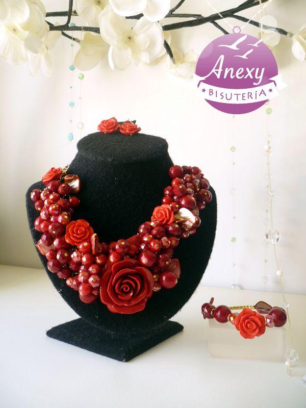 Collar y pulsera \u0026quot;Rosa roja mexicana\u0026quot; , Mexican necklace Artesanías Mexicanas
