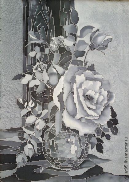 """11.11.2013 Работа дня: Картина на шелке """"Белая роза"""". Стильная завораживающая картина в черно-белых тонах выполнена в технике холодный батик (ручная роспись) на натуральном шелке."""
