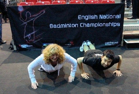 BADMINTON MK Chris and Gabby Adcock may of won the mixed doubles on Sunday at the new MK Arena but England badminton player Chris Langridge won the crowds  What an honour to be joined by Chris Langridge for a push-up picture .  Thank you x