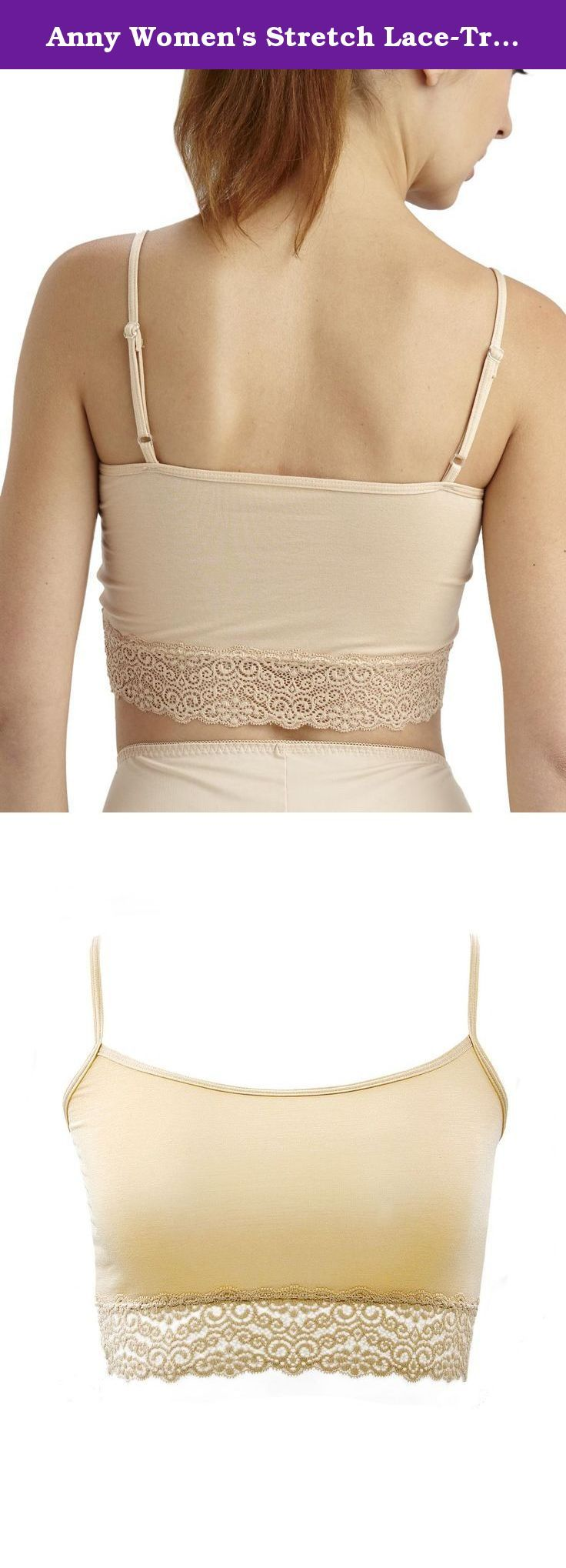 Anny Women's Stretch Lace-Trimmed Cami Crop Top Beige. This soft crop top has pretty stretch lace along the neckline and trim. Perfect for sleepwear, lounging and layering with other fashions for casual wear. **The cloth you receive will be tagged as original sizing tag since they are in Asian size. Usually smaller than US size. Tag may be different but measurements should be same.**.
