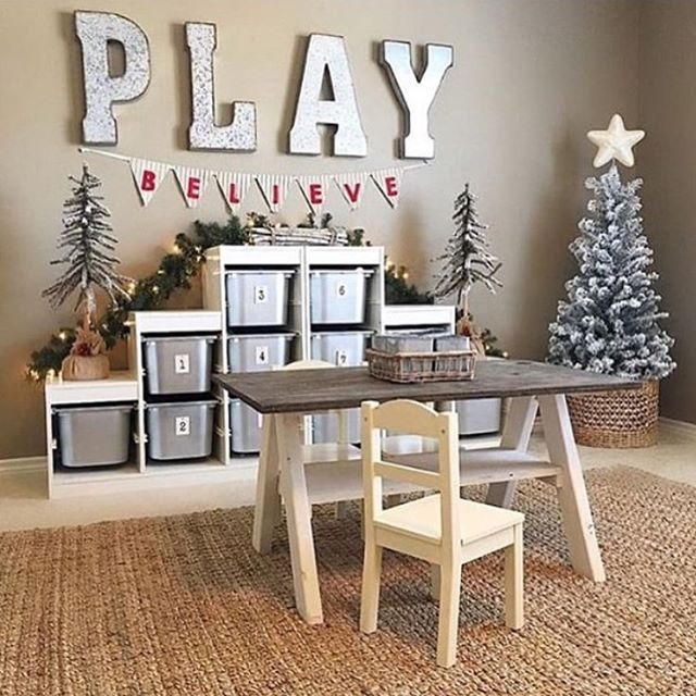 This adorable playroom makes me want to be a kid again! Those metal letters are perfection!! I just love the Christmas touches and the mini Farmhouse table!! Aly @thedowntownaly is this week's feature for #mondaymetaldecor She's #onetofollow so go check her out for more amazing inspo! Love this