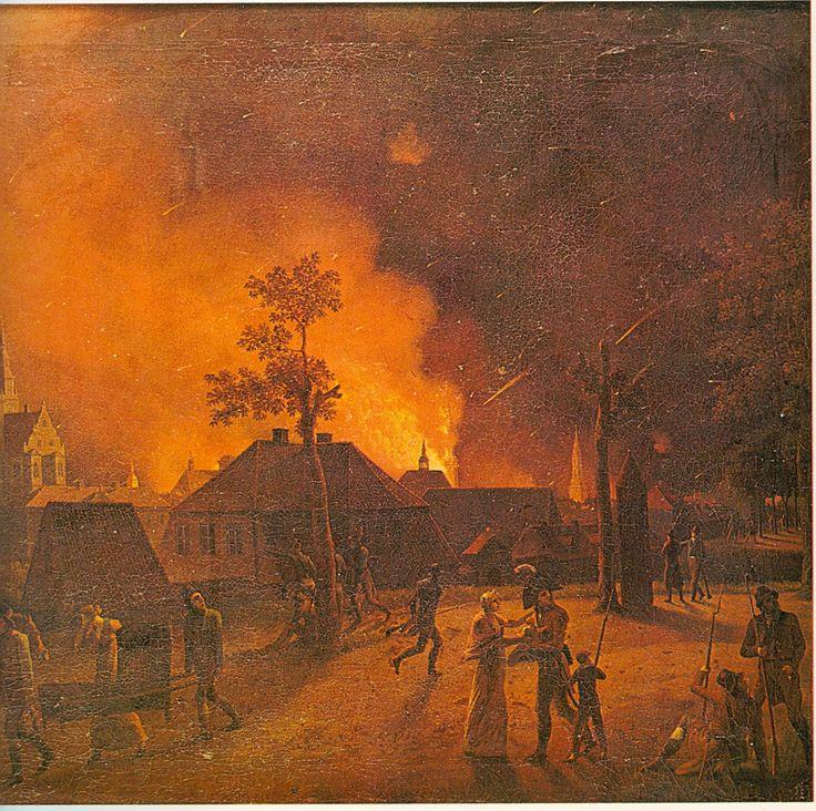 """Eckersberg: The Bombardment of Copenhagen seen from Nørreport.... """"The Second Battle of Copenhagen (or the Bombardment of Copenhagen) (16 August – 5 September 1807) was a British bombardment of Copenhagen in order to seize the Dano-Norwegian fleet, during the Napoleonic Wars."""""""