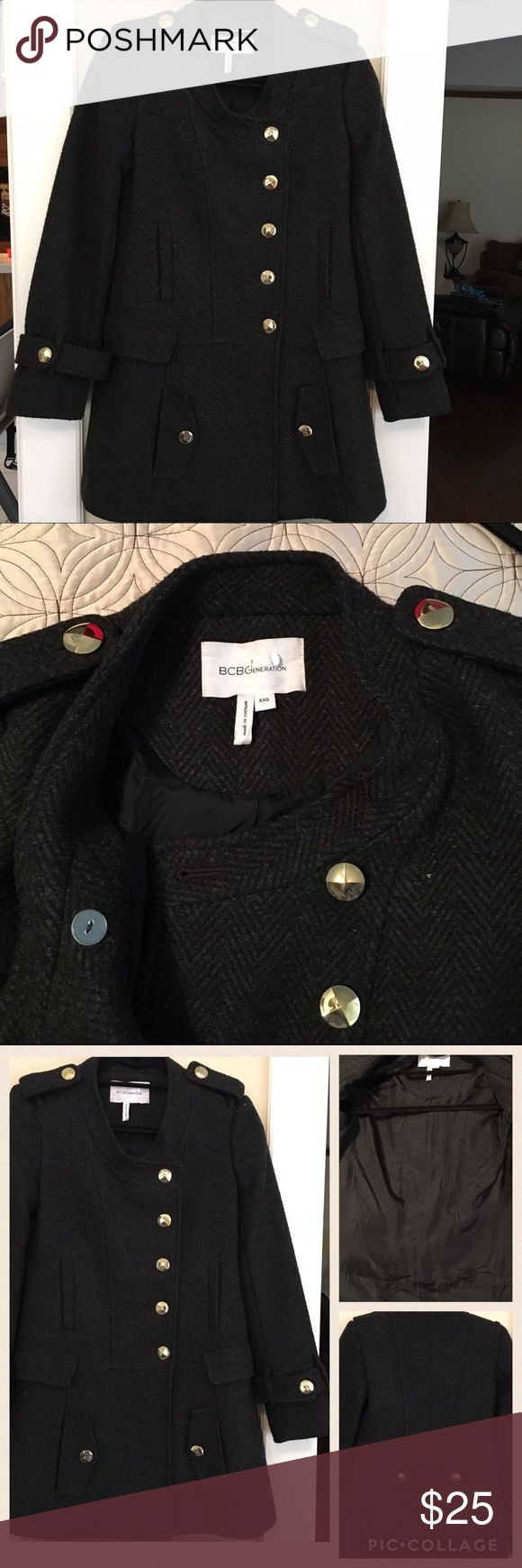 BCBG coat XXS Wool blend BCBGeneration coat with gold buttons throughout. Lots of pockets in this coat, great to stash gloves, phone and tissues during cold weather-6 total!! Some of the top buttons have slight fading as pictured. Not sure if it's from wear or dry cleaning it. There's so many buttons though you can interchange them. Great used condition, lining in excellent condition. Jackets & Coats