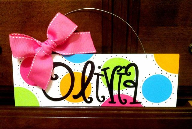 4x12 Personalized Hand Painted Wood Name Sign For Children