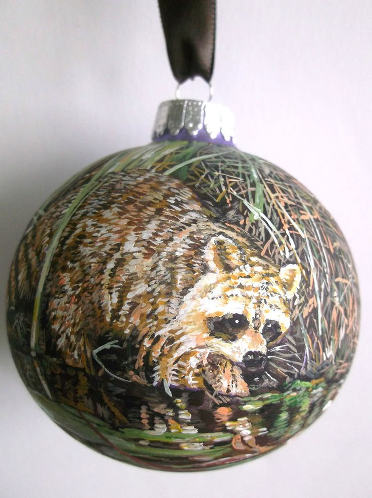 Hand painted raccoon large 85mm glass ball ornament for Glass christmas ornaments to paint