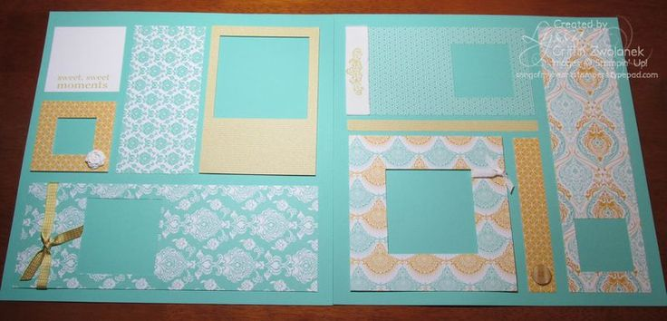 08/05/2013  31 Pages in 31 Days: 8/5/13 + blog candy! | Eastern Elegance DSP. The page looks deceptively simple--all the square frames were done with Squares Collection Framelits.  Many of the frames are popped up with dimensionals. Crisp summery color scheme suggested by the papers--Coastal Cabana, Crushed Curry/Summer Sun, and Whisper White.   Crushed Curry ink, sentiment from the Happy Day stamp set; Simply Pressed clay roses, Canvas Creations to add texture and textiles to this layout.