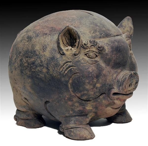 15TH CENTURY PIGGY BANK A Majapahit Pottery Bank, Pig Form
