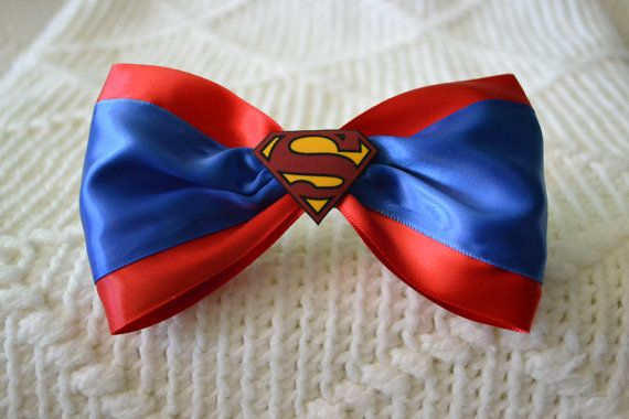 Superman Hair bow by MysticSpiralCrafts on Etsy
