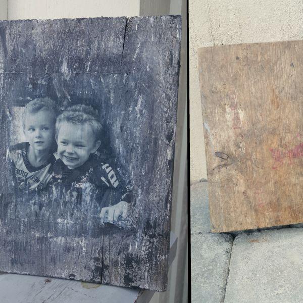 Fra avkapp til søskenportrett! Effekt av drivved/ værbitt panel malt med Vintro kalkmaling. Fotooverføring med Vintro matt lakk. Overflatebehandlet med Vintro matt lakk til slutt for en overflate som tåler vask.