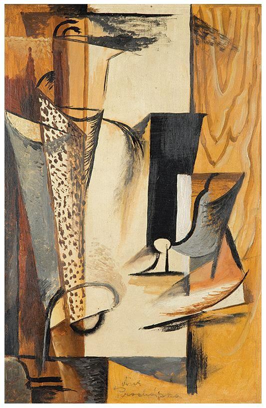 Antonín Procházka - Still-life with a glass (1913-14) #painting #art #cubism #Czechia