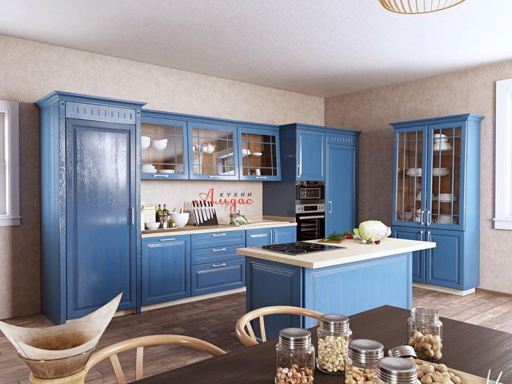 Прямая синяя кухня Майолика с островом: купить кухню в стиле современной классики по цене производителя