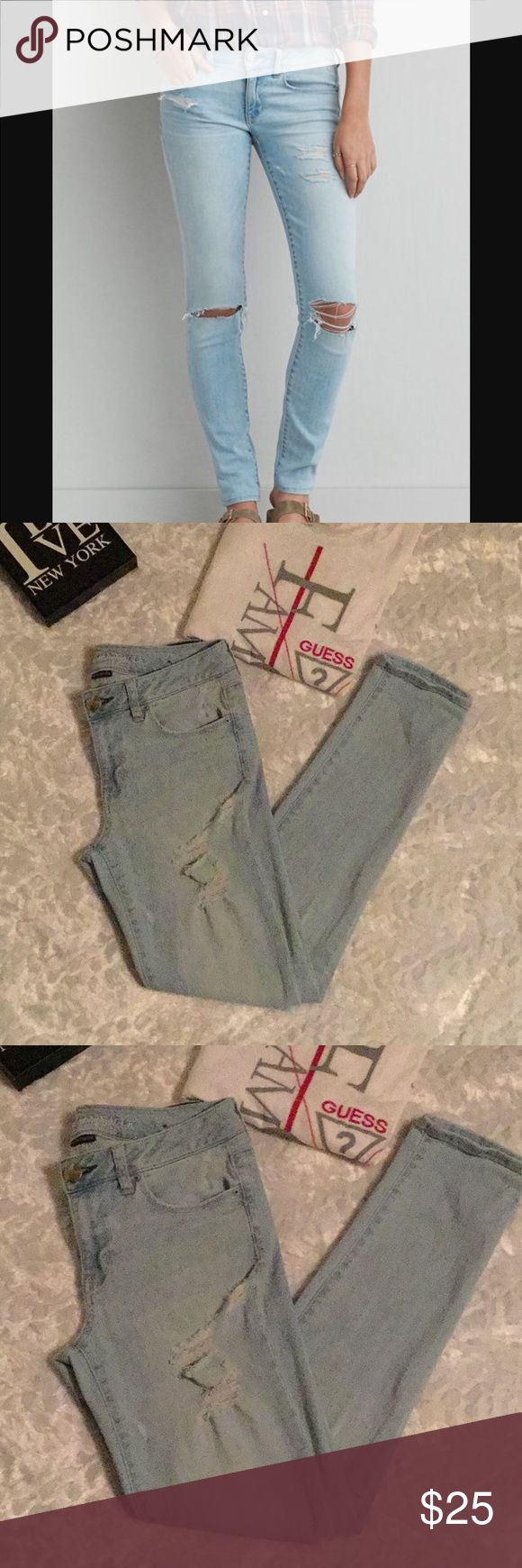 America Eagle Outfitters Distress Jeans 8 Great Condition, no Flaws. The perfect amount of distress. Size 8. American Eagle Outfitters Pants Straight Leg