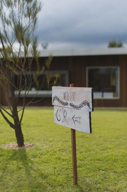 Hand-made sign, made by the groom. Yarra Valley winter wedding, Mandala Wines.
