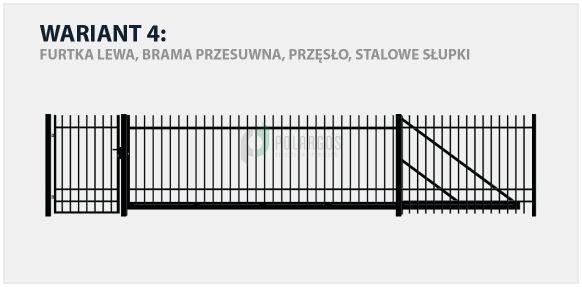 Ogrodzenie nowoczesne Nicea w wariancie z bramą przesuwną i stalowymi słupkami.