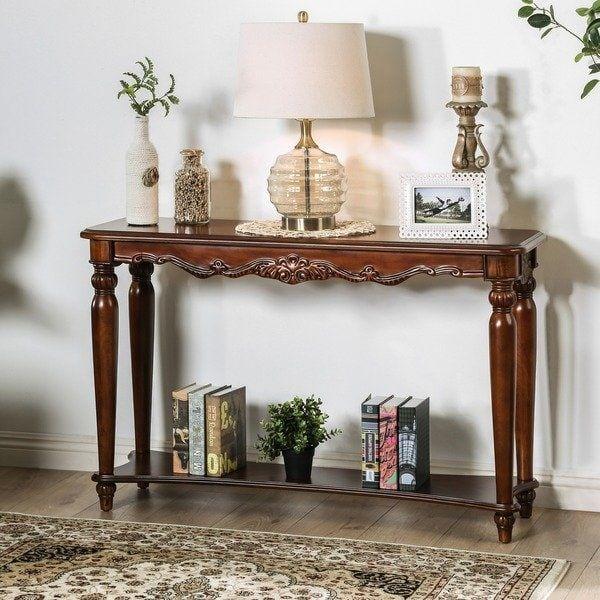 Gracewood Hollow Mieville Traditional Cherry Sofa Table 48 L X 16 W X 31 H Sofa Table Decor Sofa Table Foyer Decorating