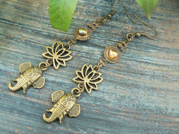 Ganesha earrings spiritual elephant earrings lotus flowers zen earrings topaz buddha earrings earrings in yoga boho gypsy style