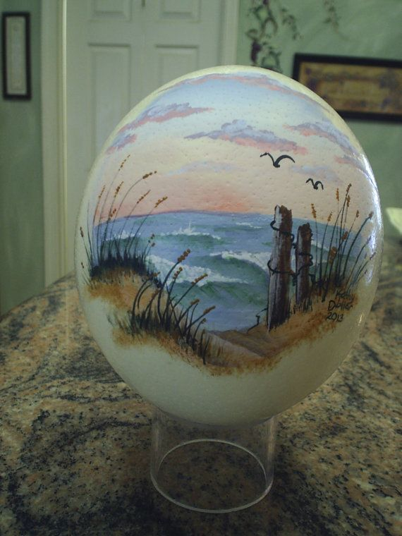 Ostrich Egg Handpainted Sea Scape by KathyDollarDesigns on Etsy