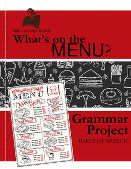This is one of my favorite real-life application projects that can be completed individually by students or in partners.  The Create Your Own Menu project allows students to use their creativity to think of a type of restaurant they would open, name it, and create a menu for it all while practicing specific and vivid nouns, verbs, adjectives, adverbs, and prepositional phrases.