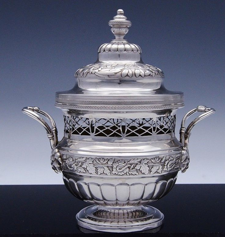 VERY RARE EARLY FRENCH STERLING SILVER PAW HANDLE REPOUSSE POTPOURRI URN VASE