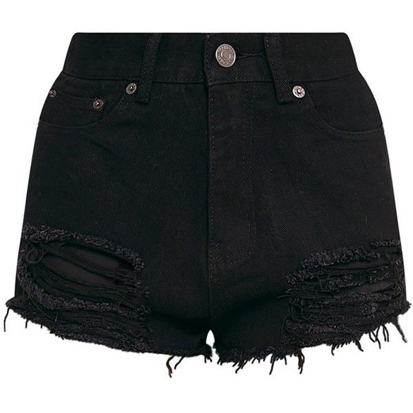 Freyanne Black Super Shred Denim Short (1.545 RUB) ❤ liked on Polyvore featuring shorts, bottoms, denim short shorts, denim shorts, short jean shorts and jean shorts