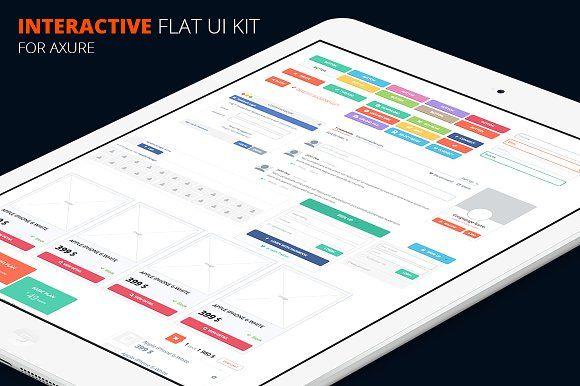 Axure flat UI kit by Marek Leschinger on @creativemarket
