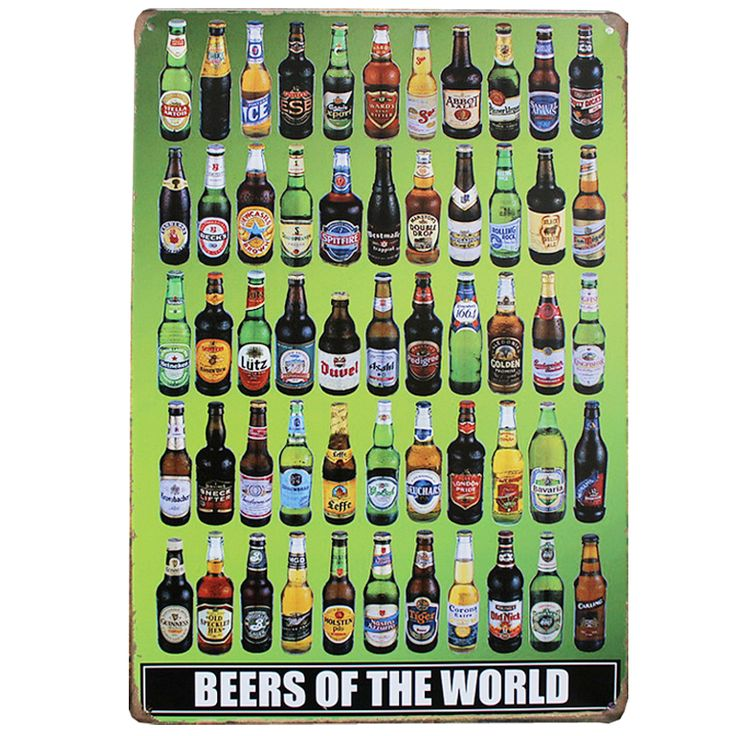 BEER OF THE WORLD Vintage Metal Tin Signs Pub Bar Cafe Wall Art Painting Iron Poster Tavern Craft Decor 20x30cm Mix Order A602