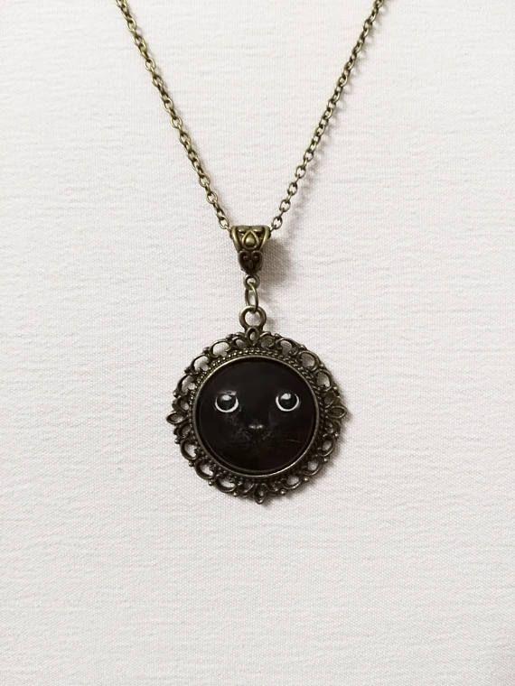 Collana con gatto nero cammeo necklace black cat pendant