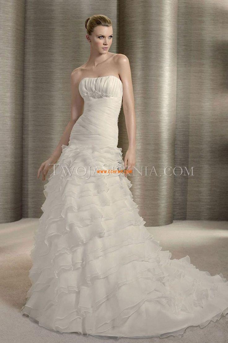 Wiosna Bez rękawów Ruching Suknie ślubne 2012