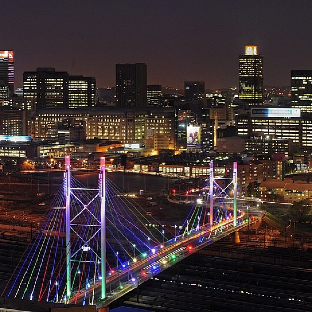 The Nelson Mandela Bridge putting on a show in Johannesburg.