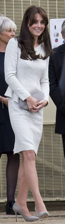 Who made Kate Middleton's clutch handbag and gray tweed dress?