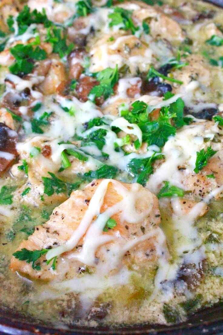 Skillet Chicken Recipe With Mushrooms And Sour Cream Chicken Skillet Recipes White Sauce Recipes Fun Easy Recipes