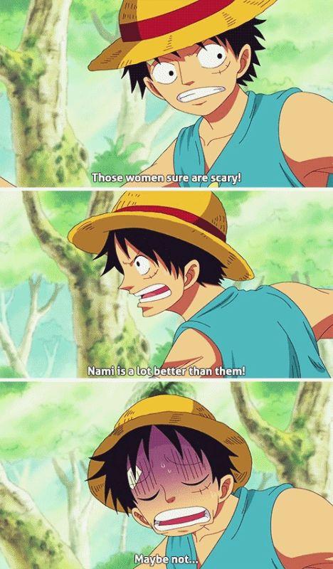Luffy can't decide which is scarier - the Amazons, or Nami. XD