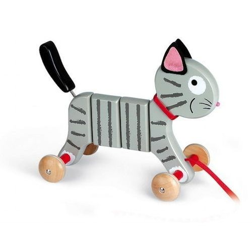Crazy Tigry Wooden Pull Along Cat  A Crazy Toy Cat called 'Crazy Tigry' - the pull-along toy cat from Janod. Crafted from sturdy eco-friendly wood, the friendly feline pull along toy is illustrated with a smiley face, has soft felt ears and a red branded collar.