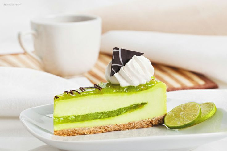 Lime Cheesecake  A stimulating taste, a bit of sourness and attractive look  give to this cheesecake the combination of jam with slices of fresh lime, Belgian dark chocolate and undoubtedly Cheeseberry's cream cheese.