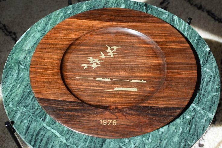 Set of 9 Danish mid century rosewood wall platters, Robert Dalgas Lassen, Sterling