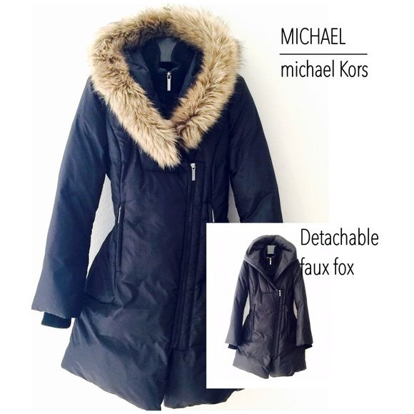 RESERVE | Michael Kors Puffer Coat | NWOT Michael Kors Puffer Coat top of the line Michael Kors label. Down filled. Sleek lines. Comfort wrist cuff and mock neck to shield from a draft, bristling wind chill and snow. Covered placket. Interior double zipper closer for added warmth in extreme weather conditions. Detachable faux fox hood trim - See all images for details. NWOT Never Used Michael Kors Jackets & Coats Puffers