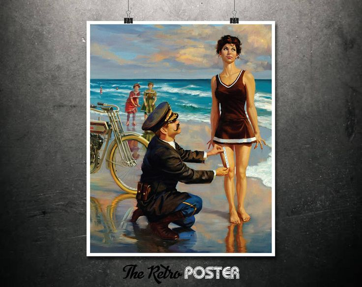 Arresting Site - Motorcycle Gifts, Pin Up, Pin Up Girl, Harley Davidson, Motorbike Gifts, Bike Art, Beach Print, Seashore, Seaside Prints by TheRetroPoster on Etsy