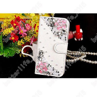 Luxury Bling Diamond Jewelled Crystal Flip Wallet Phone Cards Case Cover DIY New