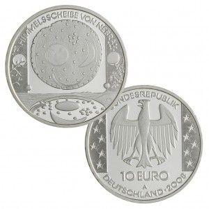 BRD 10 Euro 2008 Himmelsscheibe von Nebra, 925er Silber, 18g, Ø 32,5mm, Prägestätte A, st Auflage: 1.500.000, PP Auflage: 225.000, Jaeger-Nr. 539