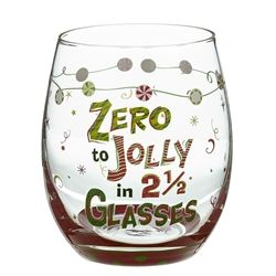 This playful stemless Christmas wine glass offers the festive advice that you can be Zero to Jolly in 2 and a Half Glasses. Made of sturdy glass and packaged in a clear acrylic gift box.